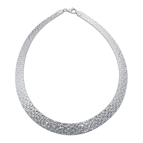 Made in Italy Sterling Silver Diamond-Cut Omega Collar Necklace