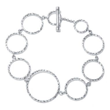 jcpenney.com | Sterling Silver Diamond-Cut Open Circles Bracelet
