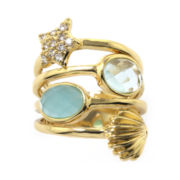 ATHRA Aqua and Light Green Stone Multi-Row Sealife Ring