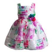 Youngland® Sleeveless Floral Organza Print Burnout Dress – Girls 2t-4t