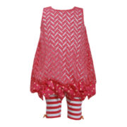 Bonnie Jean® 2-pc. Bubble Top and Capri Leggings Set - Girls 2t-4t