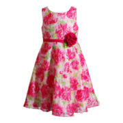 Youngland® Sleeveless Rose-Print Dress - Girls 4-6x