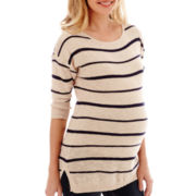 Maternity Neon Striped 3/4–Sleeve Shirttail Tunic - Plus
