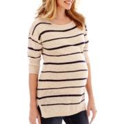 Maternity 3/4-Sleeve Neon Striped Shirttail Tunic - Plus