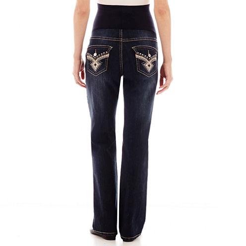 Tala Jeans Over Belly Flap Diamond Bootcut Denim