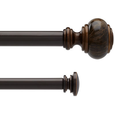 liz claiborne marble knob double adjustable curtain rod. Black Bedroom Furniture Sets. Home Design Ideas