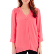 a.n.a® 3/4-Sleeve Smocked Shoulder Blouse