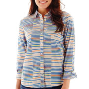 Stylus™ Long-Sleeve Striped Relaxed-Fit Essential Shirt
