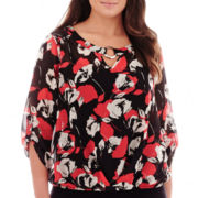 Alyx® 3/4-Sleeve Print Popover Top - Plus
