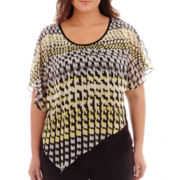 Alyx® Short-Sleeve Geo-Print Popover Top - Plus