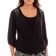 Alyx® 3/4-Sleeve Studded Crossover Layered Top