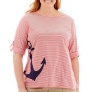 St. John's Bay® Elbow-Sleeve Boatneck Tee - Plus