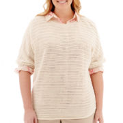 St. John's Bay® 3/4-Sleeve Pointelle Sweater - Plus