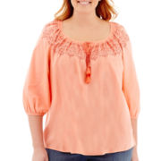 St. John's Bay® 3/4-Sleeve Embroidered Peasant Top - Plus