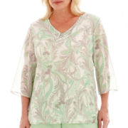 Alfred Dunner® High Tea 3/4-Sleeve Paisley Print Tunic Top - Plus