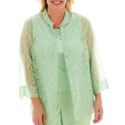 Alfred Dunner® High Tea 3/4-Sleeve Medallion Burnout Layered Top - Plus