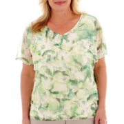 Alfred Dunner® High Tea Short-Sleeve Tiered Print Top - Plus