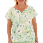 Alfred Dunner® High Tea Short-Sleeve Tropical Lace Top - Plus