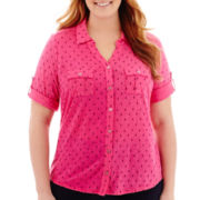 Liz Claiborne® Elbow-Sleeve Roll-Tab Blouse with Cami - Plus