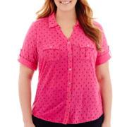 Liz Claiborne® 3/4-Sleeve Peasant Blouse with Cami - Plus
