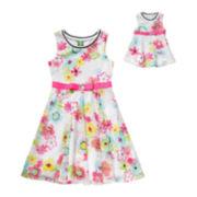 Dollie & Me Print Crochet Dress - Preschool Girls 4-6x