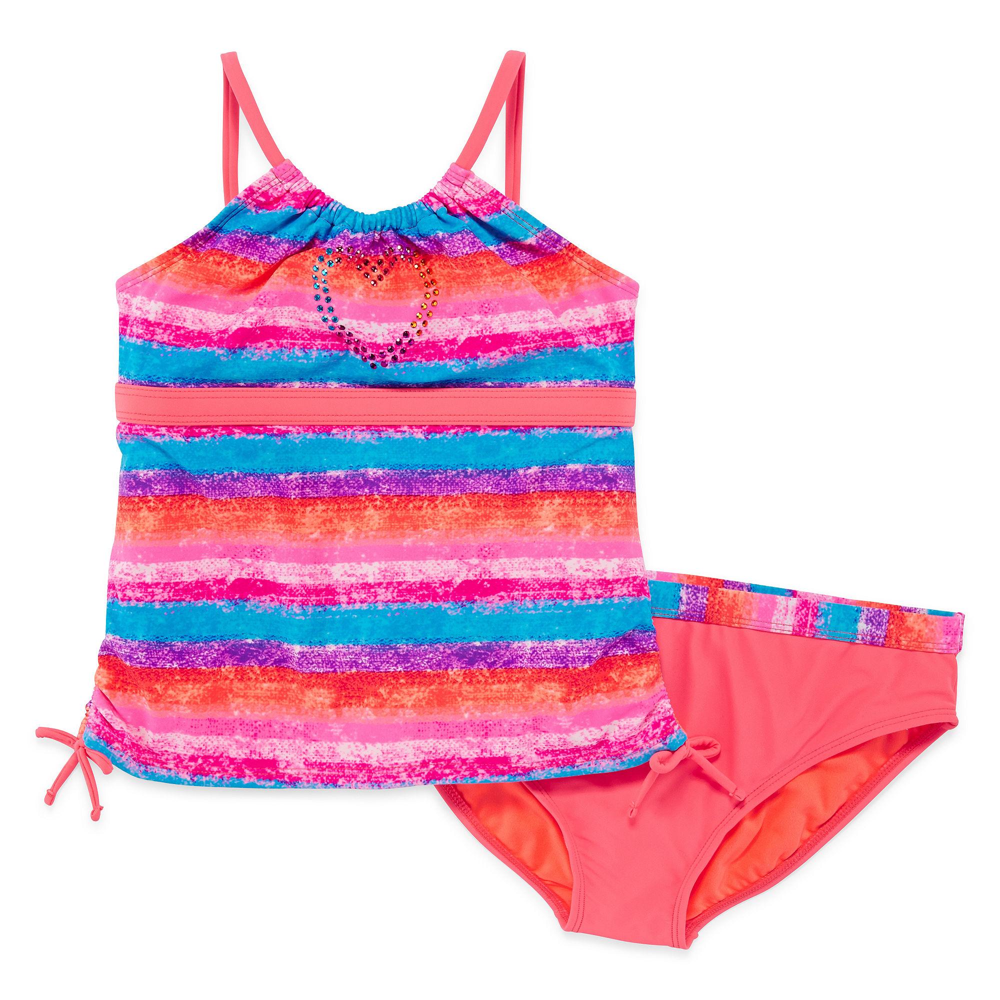 Angel Beach 2-pc. Sunset Striped Tankini Swimsuit - Girls Plus plus size,  plus size fashion plus size appare