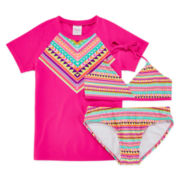 Tribal Print Rash Guard and Swimsuit Set - Girls 7-16