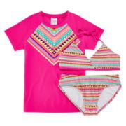 Tribal Print Rash Guard and Swimsuit Set - Girls 7-16