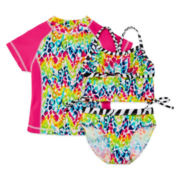 Rash Guard and 2-Piece Swimsuit Set - Preschool Girls 4-6x