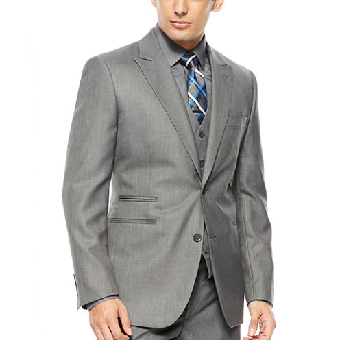 JF J.® Ferrar 2-Button Gray Sharkskin Suit Jacket - Classic Fit