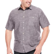 Claiborne® Short-Sleeve Slub Woven Shirt - Big & Tall