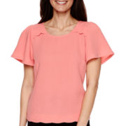 Worthington® Short-Sleeve Scallop-Trim Blouse - Petite