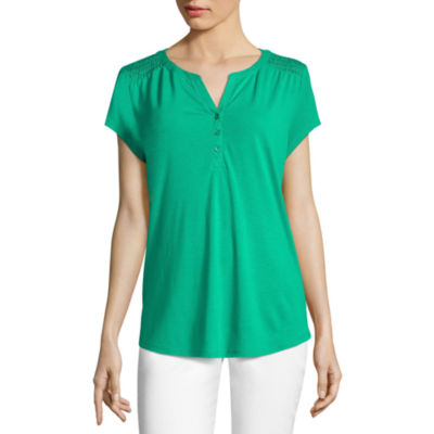 Liz Claiborne Short Sleeve Smocked Shoulder Henley T Shirt by Liz Claiborne