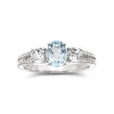 jcpenney.com | Simulated Aquamarine & Lab-Created White Sapphire Sterling Silver 3-Stone Ring