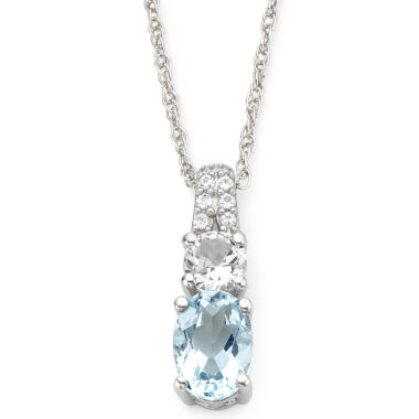jcpenney.com | Simulated Aquamarine & White Sapphire Pendant Necklace