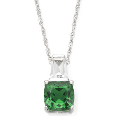 jcpenney.com | Simulated Emerald & Lab-Created White Sapphire Pendant Necklace