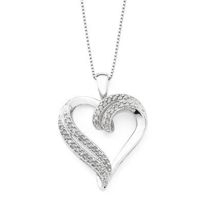 14 ct tw diamond heart pendant sterling silver tw diamond heart pendant necklace sterling silver aloadofball Images
