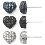 1/4 CT. T.W. Diamond Hearts 3-Pc. Earrings Set