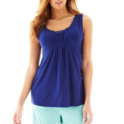 Ambrielle® Lace-Trim Knit Sleep Tank - Plus