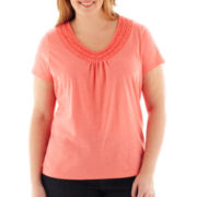 St. John's Bay® Ruffled V-Neck Top - Plus
