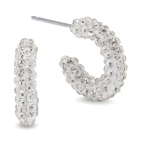 Silver Treasures White Crystal Hoop Earrings