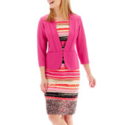 Danny & Nicole® 3/4-Sleeve Textured Knit Jacket Dress - Petite