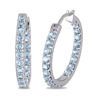 jcpenney.com | Genuine Blue Topaz Sterling Silver Inside-Out Hoop Earrings
