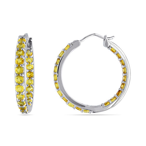 Genuine Citrine Sterling Silver Inside-Out Hoop Earrings
