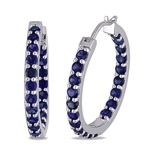 Lab-Created Blue Sapphire Sterling Silver Inside-Out Hoop Earrings