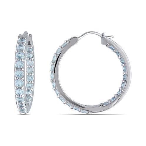 Genuine Aquamarine Sterling Silver Inside-Out Hoop Earrings