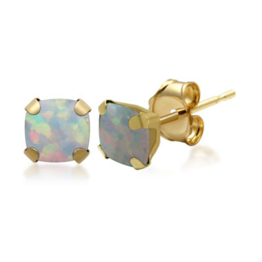 jcpenney.com | Lab-Created Opal 10K Yellow Gold Stud Earrings