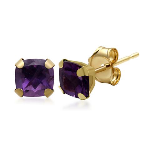 Genuine Amethyst 10K Yellow Gold Stud Earrings