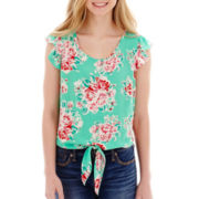 Self Esteem® Short-Sleeve Tie-Front Top