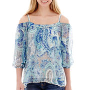 Energie Elbow-Sleeve Cold-Shoulder Paisley Top